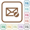 Write mail simple icons - Write mail simple icons in color rounded square frames on white background