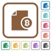 Bitcoin report simple icons - Bitcoin report simple icons in color rounded square frames on white background