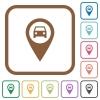 Vehicle GPS map location simple icons - Vehicle GPS map location simple icons in color rounded square frames on white background