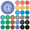 Email symbol round flat multi colored icons - Email symbol multi colored flat icons on round backgrounds. Included white, light and dark icon variations for hover and active status effects, and bonus shades on black backgounds.