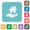Home insurance rounded square flat icons - Home insurance white flat icons on color rounded square backgrounds