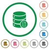 Database properties flat icons with outlines - Database properties flat color icons in round outlines on white background