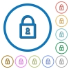 Locked padlock icons with shadows and outlines - Locked padlock flat color vector icons with shadows in round outlines on white background