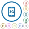 Third gereration mobile network icons with shadows and outlines - Third gereration mobile network flat color vector icons with shadows in round outlines on white background