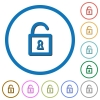 Unlocked padlock icons with shadows and outlines - Unlocked padlock flat color vector icons with shadows in round outlines on white background