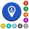 Sea port GPS map location beveled buttons - Sea port GPS map location round color beveled buttons with smooth surfaces and flat white icons