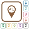 Route planning simple icons - Route planning simple icons in color rounded square frames on white background