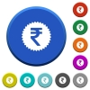 Indian Rupee sticker beveled buttons - Indian Rupee sticker round color beveled buttons with smooth surfaces and flat white icons