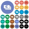 Euro banknotes round flat multi colored icons - Euro banknotes multi colored flat icons on round backgrounds. Included white, light and dark icon variations for hover and active status effects, and bonus shades on black backgounds.