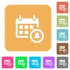 Calendar alarm rounded square flat icons - Calendar alarm flat icons on rounded square vivid color backgrounds.