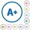 Increase font size icons with shadows and outlines - Increase font size flat color vector icons with shadows in round outlines on white background