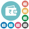 Indian Rupee wallet flat round icons - Indian Rupee wallet flat white icons on round color backgrounds