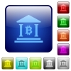 Bitcoin bank office color square buttons - Bitcoin bank office icons in rounded square color glossy button set