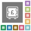 Pound strong box square flat icons - Pound strong box flat icons on simple color square backgrounds