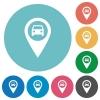 Vehicle GPS map location flat round icons - Vehicle GPS map location flat white icons on round color backgrounds
