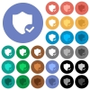 Protection ok round flat multi colored icons - Protection ok multi colored flat icons on round backgrounds. Included white, light and dark icon variations for hover and active status effects, and bonus shades on black backgounds.