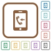 Incoming mobile call simple icons - Incoming mobile call simple icons in color rounded square frames on white background