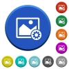 Image settings beveled buttons - Image settings round color beveled buttons with smooth surfaces and flat white icons
