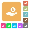 Pound earnings rounded square flat icons - Pound earnings flat icons on rounded square vivid color backgrounds.