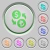 Dollar Lira money exchange push buttons - Dollar Lira money exchange color icons on sunk push buttons