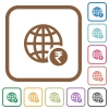 Online Rupee payment simple icons - Online Rupee payment simple icons in color rounded square frames on white background