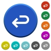 Back arrow round color beveled buttons with smooth surfaces and flat white icons - Back arrow beveled buttons