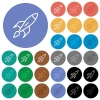 Launched rocket round flat multi colored icons - Launched rocket multi colored flat icons on round backgrounds. Included white, light and dark icon variations for hover and active status effects, and bonus shades on black backgounds.