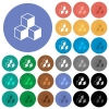Cubes round flat multi colored icons - Cubes multi colored flat icons on round backgrounds. Included white, light and dark icon variations for hover and active status effects, and bonus shades on black backgounds.