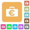 Euro bag rounded square flat icons - Euro bag flat icons on rounded square vivid color backgrounds.