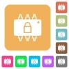 Hardware locked rounded square flat icons - Hardware locked flat icons on rounded square vivid color backgrounds.
