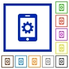 Mobile settings flat framed icons - Mobile settings flat color icons in square frames on white background