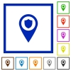 Police station GPS map location flat framed icons - Police station GPS map location flat color icons in square frames on white background