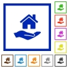 Home insurance flat framed icons - Home insurance flat color icons in square frames on white background