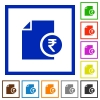 Indian Rupee financial report flat framed icons - Indian Rupee financial report flat color icons in square frames on white background