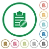 Edit note flat icons with outlines - Edit note flat color icons in round outlines on white background