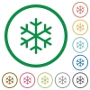 Single snowflake flat icons with outlines - Single snowflake flat color icons in round outlines on white background