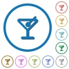 Cocktail icons with shadows and outlines - Cocktail flat color vector icons with shadows in round outlines on white background
