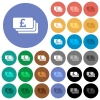 Pound banknotes round flat multi colored icons - Pound banknotes multi colored flat icons on round backgrounds. Included white, light and dark icon variations for hover and active status effects, and bonus shades on black backgounds.
