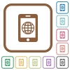 Mobile internet simple icons - Mobile internet simple icons in color rounded square frames on white background
