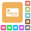Member card rounded square flat icons - Member card flat icons on rounded square vivid color backgrounds.