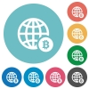 Online Bitcoin payment flat round icons - Online Bitcoin payment flat white icons on round color backgrounds