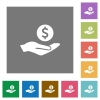 Dollar earnings square flat icons - Dollar earnings flat icons on simple color square backgrounds