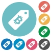 Bitcoin price label flat round icons - Bitcoin price label flat white icons on round color backgrounds