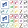 Ruble coins outlined flat color icons - Ruble coins color flat icons in rounded square frames. Thin and thick versions included.