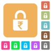 Locked rupees rounded square flat icons - Locked rupees flat icons on rounded square vivid color backgrounds.