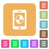 Smartphone protection rounded square flat icons - Smartphone protection flat icons on rounded square vivid color backgrounds.