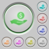 Dollar earnings push buttons - Dollar earnings color icons on sunk push buttons