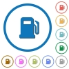 Gas station icons with shadows and outlines - Gas station flat color vector icons with shadows in round outlines on white background