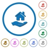Home insurance icons with shadows and outlines - Home insurance flat color vector icons with shadows in round outlines on white background