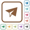 Paper plane simple icons in color rounded square frames on white background - Paper plane simple icons
